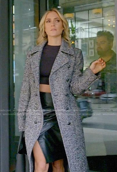 Kristin's herringbone coat and leather skirt on Very Cavallari