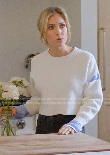 Kristin's camo skirt and white top on Very Cavallari