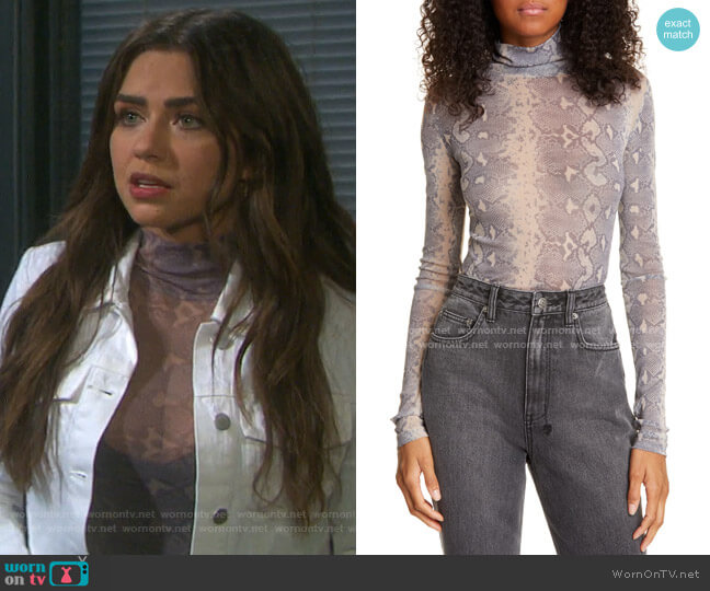 Viper Snake Print Turtleneck by Ksubi worn by Ciara Brady (Victoria Konefal) on Days of our Lives