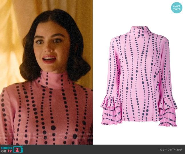 La DoubleJ Frill Cuff Blouse worn by Katy Keene (Lucy Hale) on Katy Keene