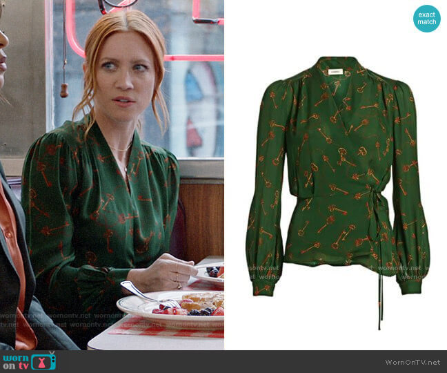 L'Agence Cara Blouse in Pine worn by Julia Bechley (Brittany Snow) on Almost Family