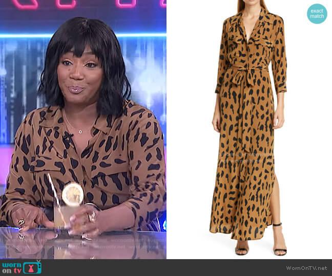 Leopard Print Silk Maxi Shirtdress by L'Agence worn by Tiffany Haddish