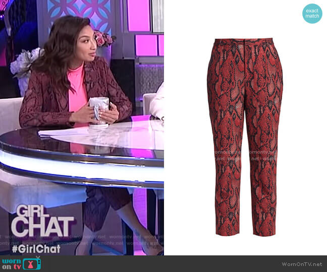 Ludivine Snake Print Crop Trousers by L'Agence worn by Jeannie Mai  on The Real