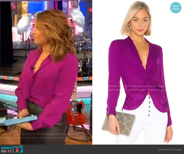 Mariposa Blouse by L'Agence worn by Ginger Zee  on Good Morning America