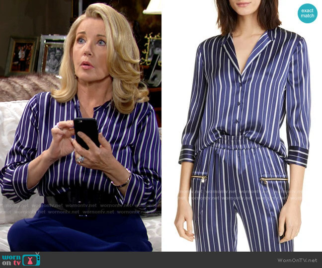 L'Agence Aoki Blouse in Navy/Ivory Stripe worn by Nikki Reed Newman (Melody Thomas-Scott) on The Young & the Restless