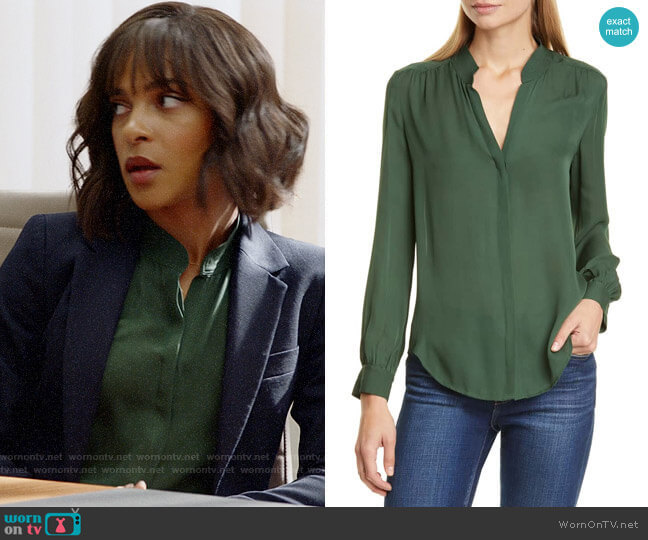 L'Agence Bianca Blouse in Dark Green worn by Edie Palmer (Megalyn Echikunwoke) on Almost Family