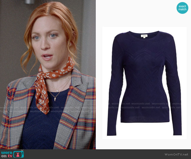 L'Agence Suka Chevron-Knit Sweater worn by Julia Bechley (Brittany Snow) on Almost Family