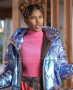 Lara's pink ribbed top and metallic puffer jacket on Empire