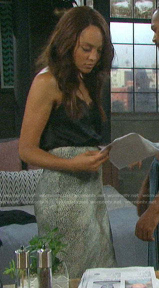 Lani's black lace trim cami and leopard print skirt on Days of our Lives