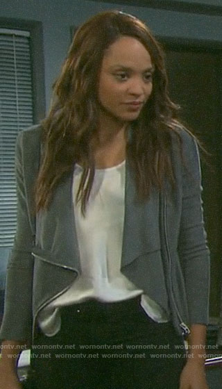 Lani's grey draped front jacket on Days of our Lives