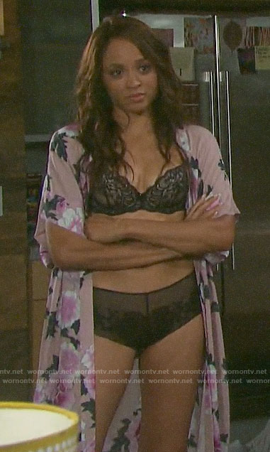Lani's black lingerie on Days of our Lives