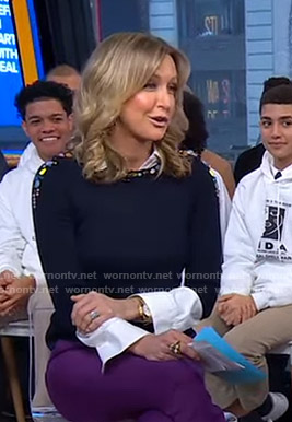 Lara's navy navy jeweled sweater on Good Morning America