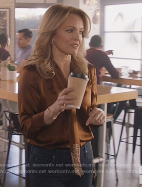 Laura's brown silk fringe tie blouse on All American