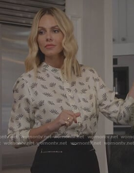 Laura's white printed blouse on All American