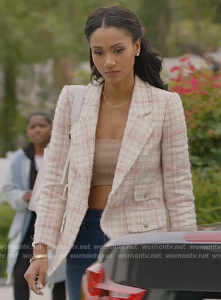 Layla's tweed check blazer on All American