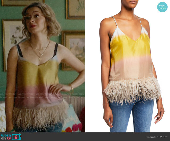 Le Superbe Coppertone Ostrich Feathers Colorblock Cami worn by Pepper Smith (Julia Chan) on Katy Keene