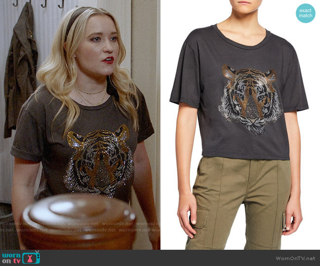 Le Superbe Tony Rhinestone Tiger Tee worn by Roxy Doyle (Emily Osment) on Almost Family