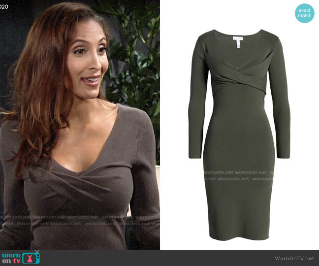 Leith Twist Front Long Sleeve Sweater Dress worn by Lily Winters (Christel Khalil) on The Young & the Restless