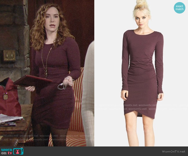 Leith Ruched Long Sleeve Dress worn by Mariah Copeland (Camryn Grimes) on The Young & the Restless