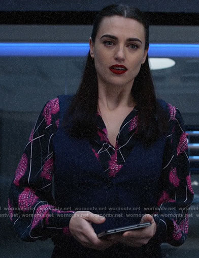 Lena's pink feather print blouse on Supergirl