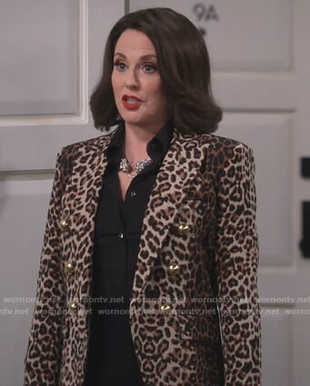Karen's leopard print double breasted blazer on Will and Grace