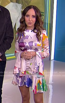 Lilliana's printed ruffle satin mini dress on E! News