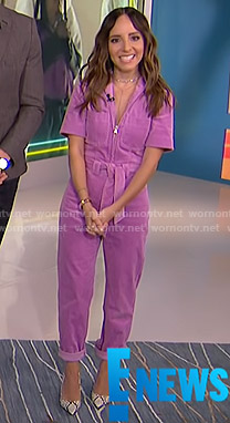 Lilliana's purple tie waist jumpsuit on E! News