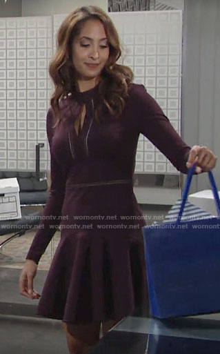Lily's purple long sleeved keyhole dress on The Young and the Restless