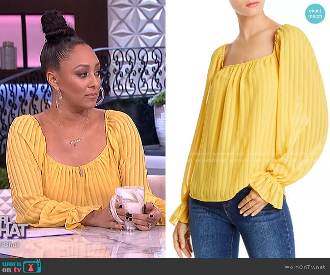 Cara Striped Square-Neck Top by Lini worn by Tamera Mowry  on The Real
