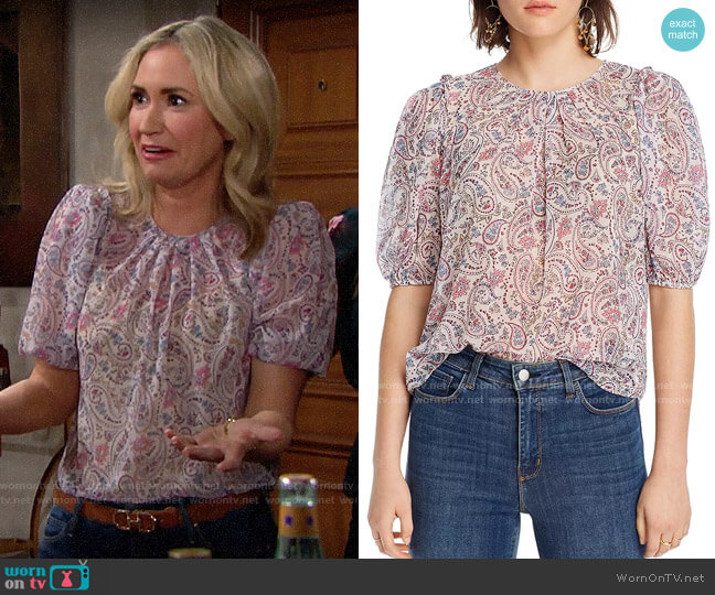 Lini Lara Paisley-Print Top worn by Bridget Forrester (Ashley Jones) on The Bold & the Beautiful