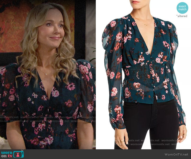 Lini Nora Puff-Sleeve Floral Smocked Top worn by Hope Logan (Annika Noelle) on The Bold & the Beautiful