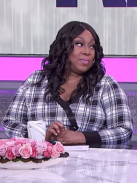 Loni's black and white plaid dress on The Real