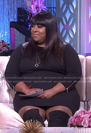 Loni's black leather panel knit dress on The Real