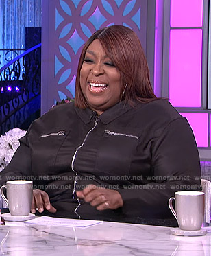 Loni's black zip front jumpsuit on The Real
