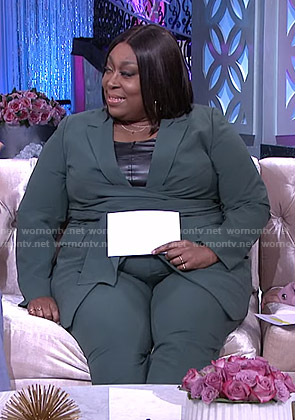 Loni's green tie waist blazer and pants on The Real