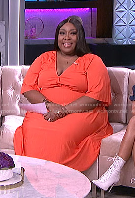 Loni's orange pleated midi dress on The Real