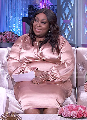 Loni's pink satin midi dress on The Real
