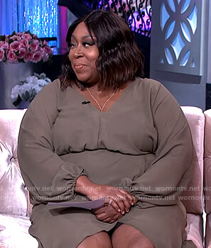 Loni's green wrap effect dress on The Real