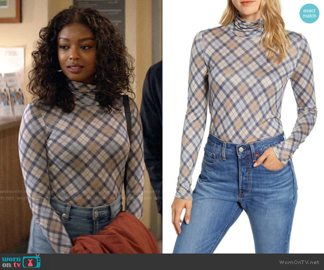 Lou & Grey Elma Plaid Turtleneck worn by Ali Finer (Javicia Leslie) on God Friended Me