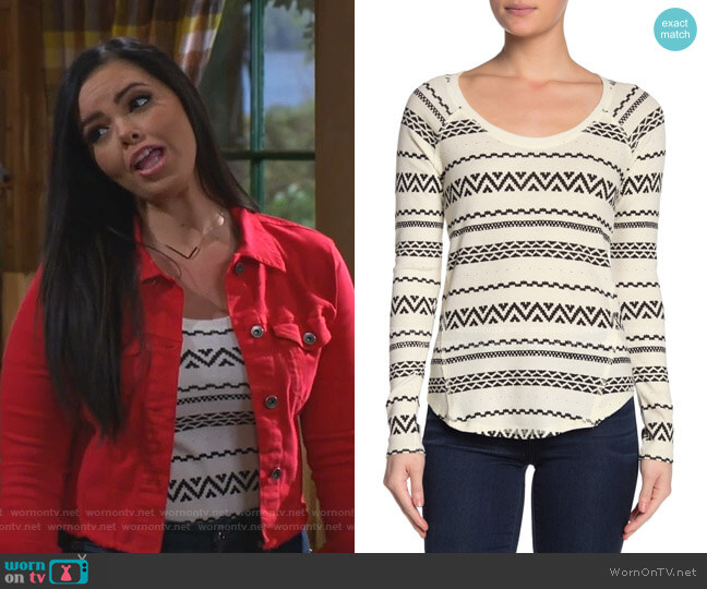 Geometric Print Thermal Knit Shirt by Lucky Brand worn by Lou Hockhauser (Miranda May) on Bunkd