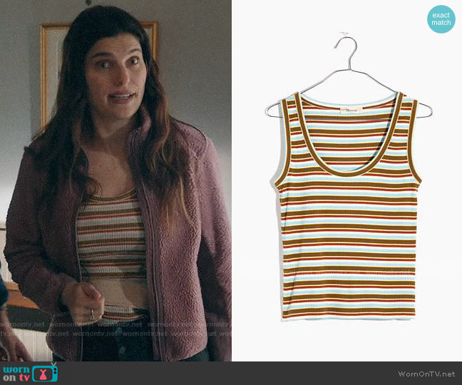 Madewell Ribbed Scoop Tank Top in Hermann Stripe worn by Rio (Lake Bell) on Bless This Mess