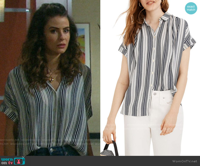 Madewell Central Shirt in Fairborn Stripe worn by Sarah Horton (Linsey Godfrey) on Days of our Lives