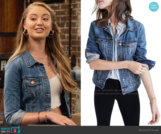 Madewell Denim Jacket worn by Brooke Bishop (Bella Podaras) on The Expanding Universe of Ashley Garcia