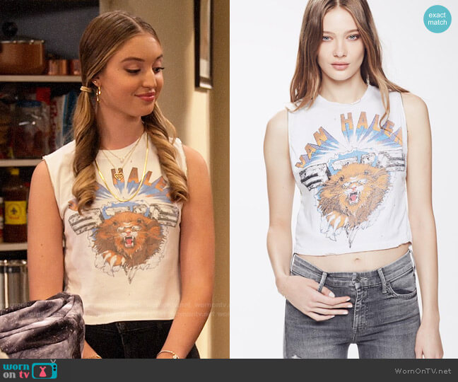Madeworn Van Halen Lion Zip Tee worn by Brooke Bishop (Bella Podaras) on The Expanding Universe of Ashley Garcia