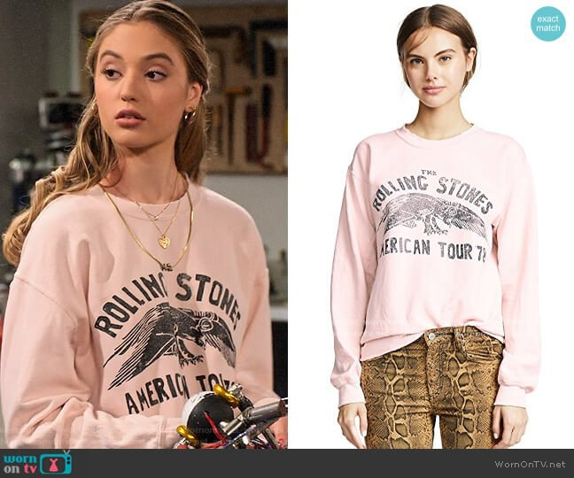 Madeworn Rolling Stones Sweatshirt worn by Brooke Bishop (Bella Podaras) on The Expanding Universe of Ashley Garcia