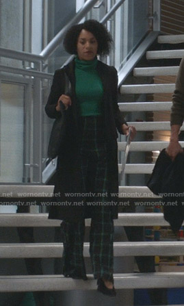 Maggie's green turtleneck sweater and plaid pants on Greys Anatomy