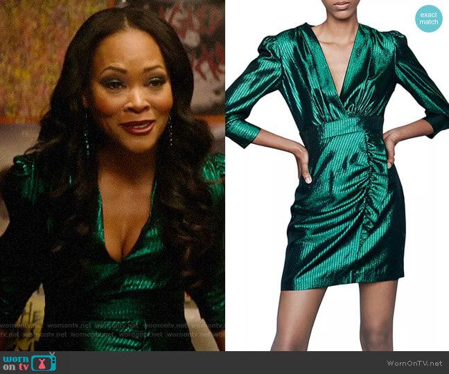 Maje Rexy Metallic Mini Dress worn by Mayor Sierra McCoy (Robin Givens) on Katy Keene