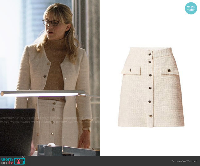 Maje Jiba Skirt worn by Kara Danvers (Melissa Benoist) on Supergirl