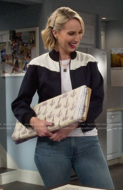 Mandy's two-tone pearl embellished jacket on Last Man Standing