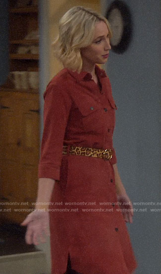 Mandy's red suede shirtdress on Last Man Standing